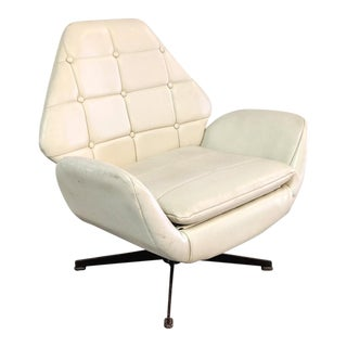 Mid-Century Modern Faux Leather Swivel Swan Chair For Sale