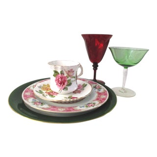 Mismatched Cottage Roses Plates & Glassware - Set of 6 For Sale