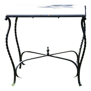 20th Century Art Nouveau Wrought Iron and Travertine Marble Side Table For Sale