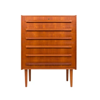 Vintage Danish Mid-Century Teak Tallboy W/Straight Pulls For Sale