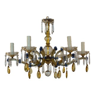 Maria Teresa Chandelier With Blue and Amber Accent For Sale