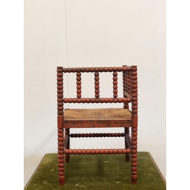 French 1940s Vintage French Turned Wood Corner Chair For Sale - Image 3 of 10