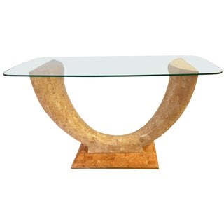 Art Deco Curved Tessalated Marble Console Table For Sale