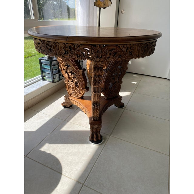 Wood Antique Burmese Carved Dining Table For Sale - Image 7 of 7