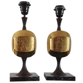 Pair of Etched Brass and Marble Table Lamps by Barbier, France, 1970s For Sale