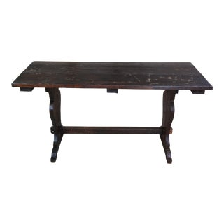 Rustic Old World Pine Farmhouse Trestle Pub Library Refectory Table For Sale