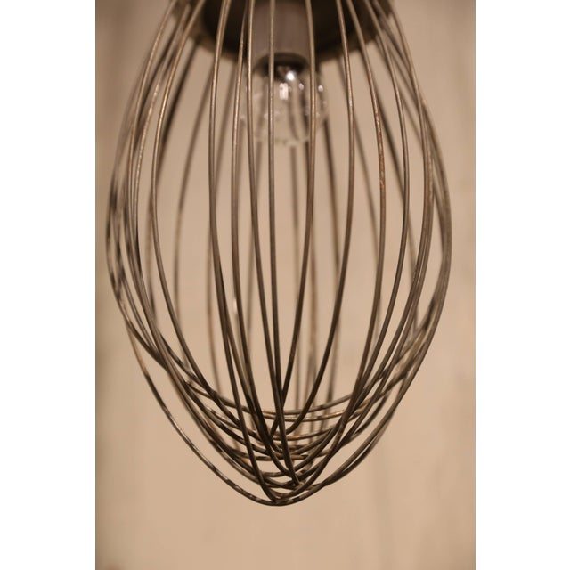 French Pendant Light Fixture from Vintage Bakery Whisk For Sale - Image 3 of 5
