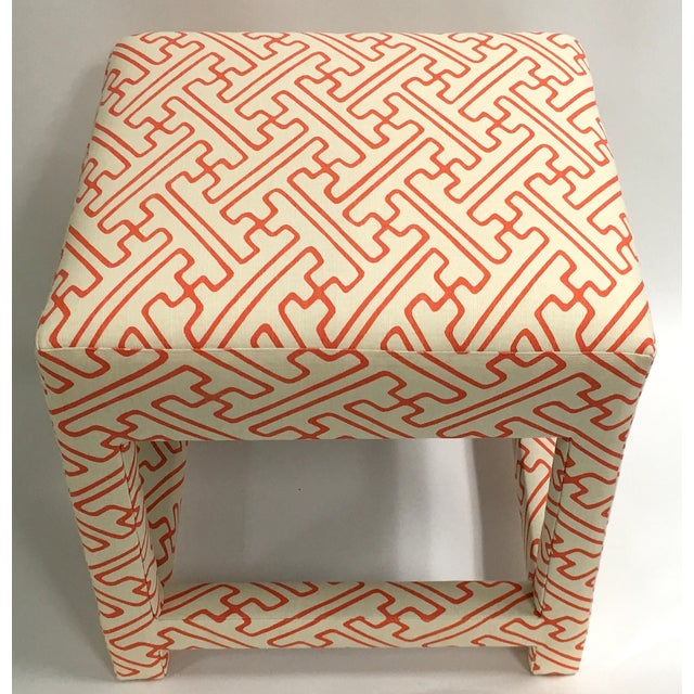 David Hicks Style Quadrille Upholstered Bench - Image 5 of 6