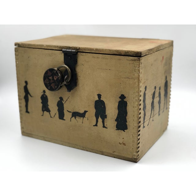 Cream 19th Century Silhouette Painted Wooden Box For Sale - Image 8 of 13