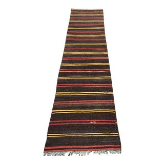 Vintage Striped Turkish Kilim Runner For Sale