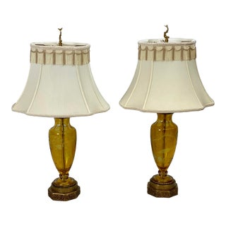 Vintage Chelsea House Chinoiserie Amber Glass Lamp With Shades - a Pair For Sale