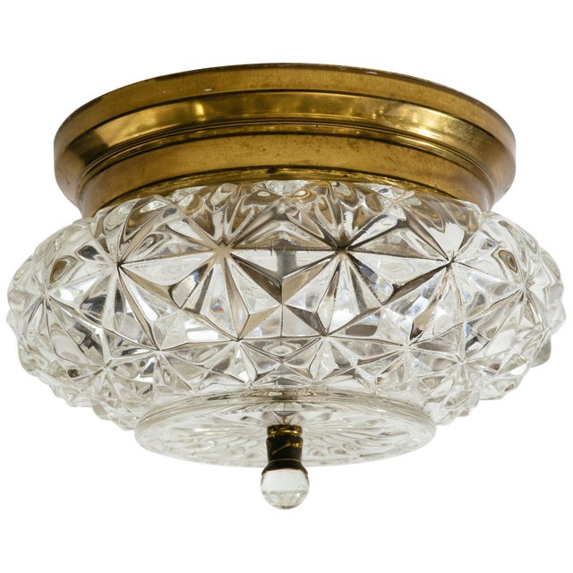 German Glass and Brass Flush Mount Chandeliers - a Pair For Sale - Image 9 of 9