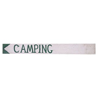Vintage Camping Sign For Sale
