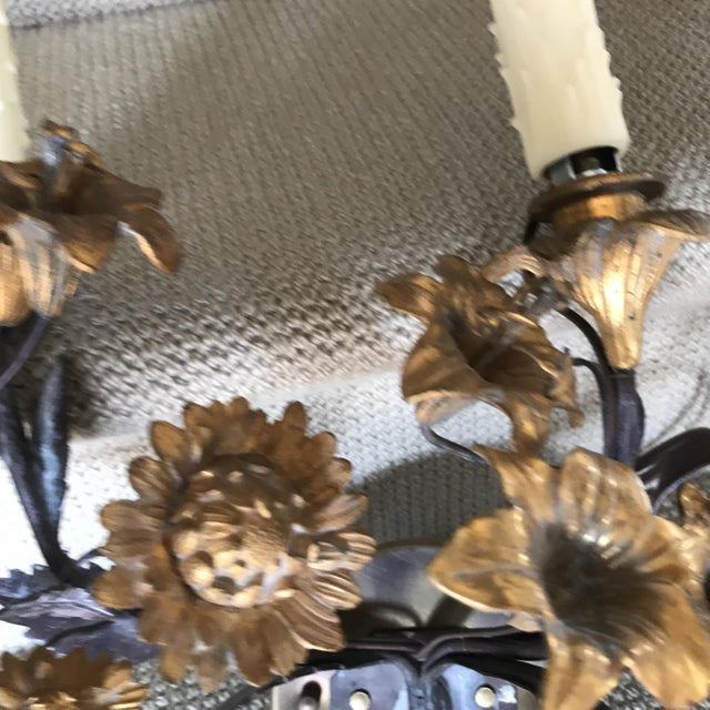 Floral Bronze Candelabras - a Pair For Sale - Image 4 of 5