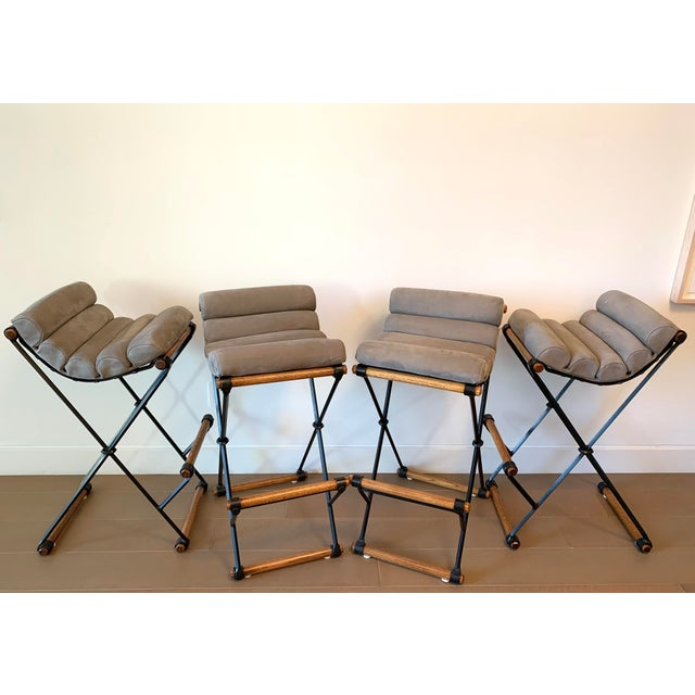 Cleo Baldon Iron & Suede Bar Stools - Set of 4 For Sale - Image 13 of 13