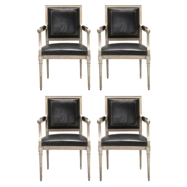 Louis XVI Style Armchairs in Original Paint and Black Leather - Set of 4 For Sale - Image 13 of 13