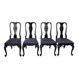 Image of Black Lacquer Dining Chairs - Set of 4 For Sale