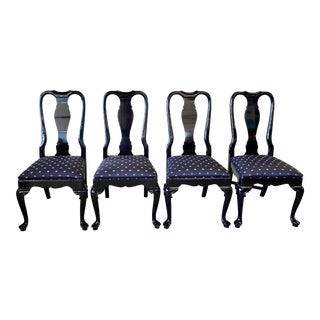 Black Lacquer Dining Chairs - Set of 4 For Sale