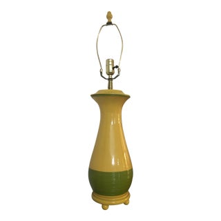 Vintage 1980s Yellow and Green Ceramic Lamp on Wood Base For Sale