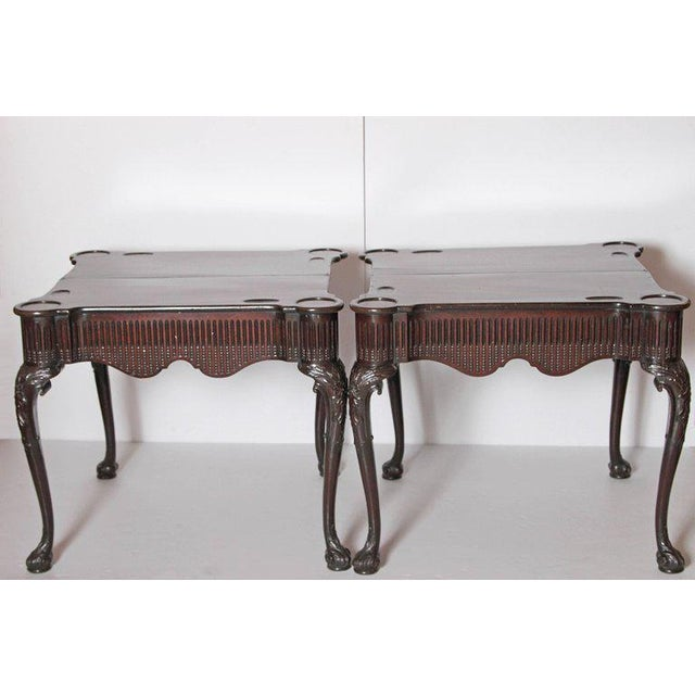 Mahogany Pair of Irish Chippendale Carved Mahogany Concertina Card Tables For Sale - Image 7 of 12