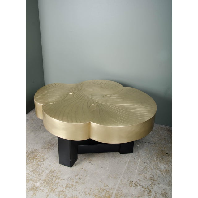 Contemporary Leaf Design Cocktail Table - Brass For Sale - Image 3 of 4