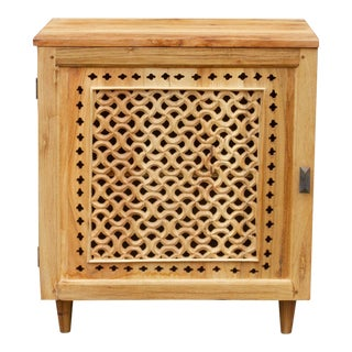 Bleached Teak Mehrangarh Jali Nightstand For Sale