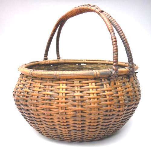 Japanese Bamboo Basket Ikebana Flower Antique Vase Flower Sumikago For Sale - Image 4 of 13