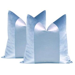 "22"" Powder Blue Velvet & Silk Panel Pillows - a Pair"