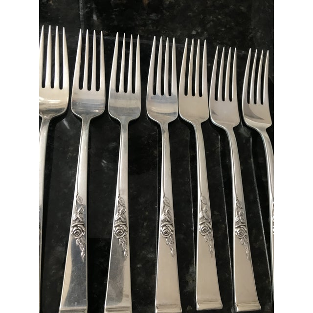 Reed & Barton Reed & Barton, Classic Rose Sterling Silver Flatware With Serving Pieces, Place Settings for 8 For Sale - Image 4 of 11