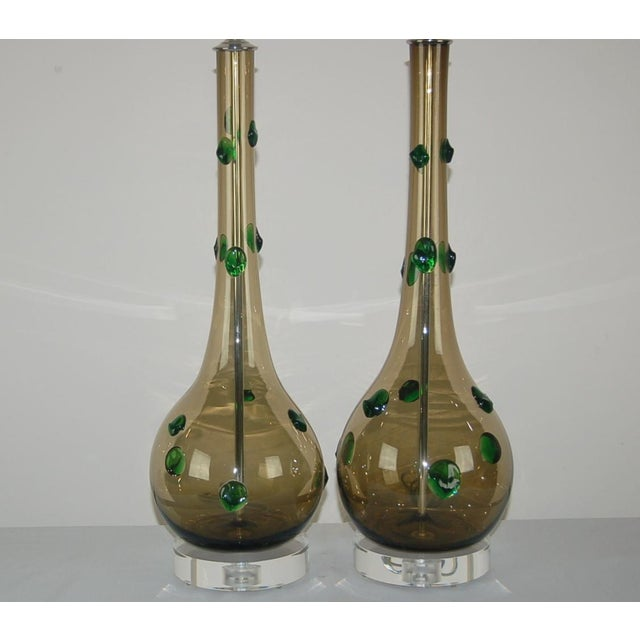 Italian Vintage Murano Glass Table Lamps With Prunts For Sale - Image 3 of 9