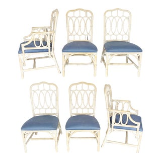 Rattan Loop Back Dining Chairs by Lexington - Set of Six For Sale