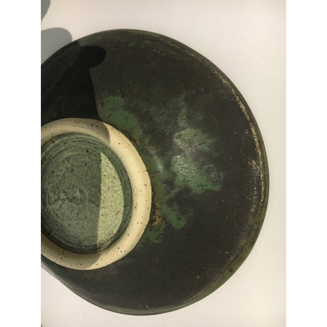 1980s Contemporary Handcrafted Green Ceramic Bowls - Set of 6 For Sale In Miami - Image 6 of 8
