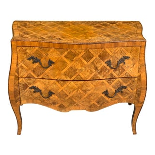 1960s Cannell and Chaffin Italian Marquetry Burl Olive Inlaid Wood Commode For Sale
