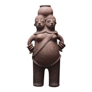Mangbetu Terracotta Vessel in the Shape of Conjoined Twins For Sale