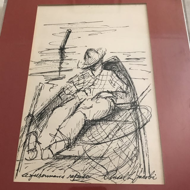 "Framed ""Fishermans Repose"" Original Ink Drawing - Image 2 of 6"