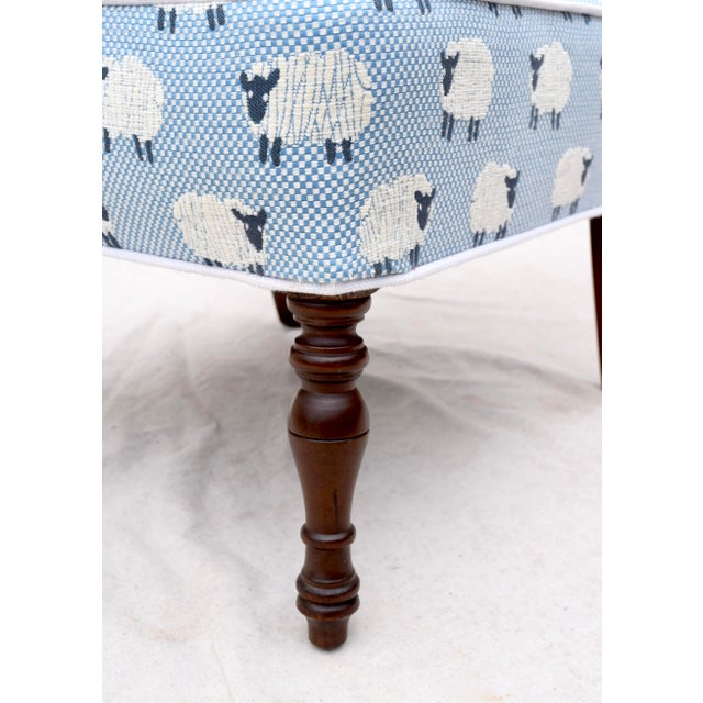 """Scalamandre, """" Ewe Too in Blue"""" Petite Antique Slipper Chairs For Sale - Image 9 of 13"""