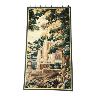 18th Century French Aubusson Verdure Tapestry With Roman Ruins Structure For Sale