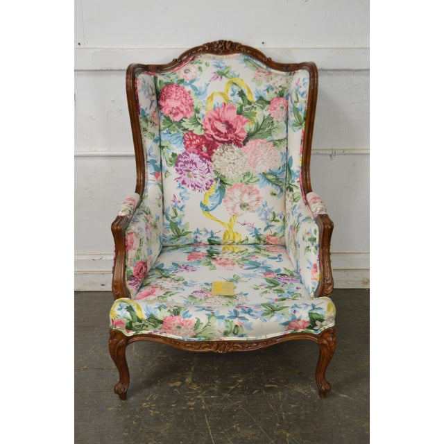 Meyer Gunther Martini Custom Floral Upholstered French Louis XV Style Bergere Wing Chair For Sale - Image 9 of 11
