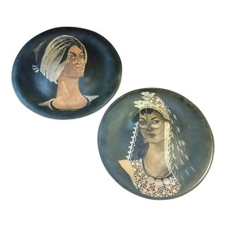 Persian Prince & Bride Copper Portraits - a Pair