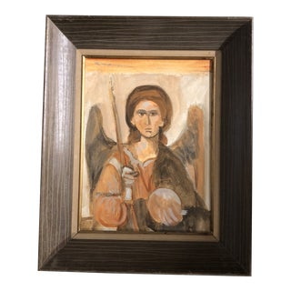 Original Vintage Modernist Painting of Angel With Wings For Sale