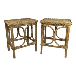 1970s Boho Chic Wicker and Rattan Stools - a Pair For Sale