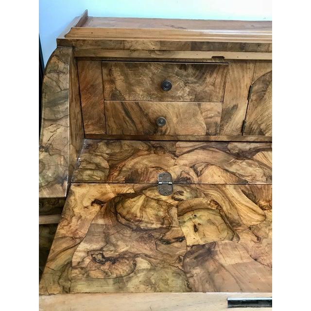 Wood 20th Century Italian Art Deco Burl Wood 6-Drawer Secretary. For Sale - Image 7 of 10