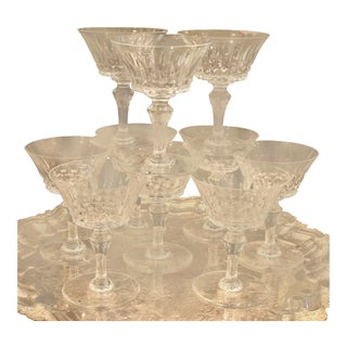 Set of 10 Signed Baccarat French Crystal Champagne Stems - Piccadilly For Sale