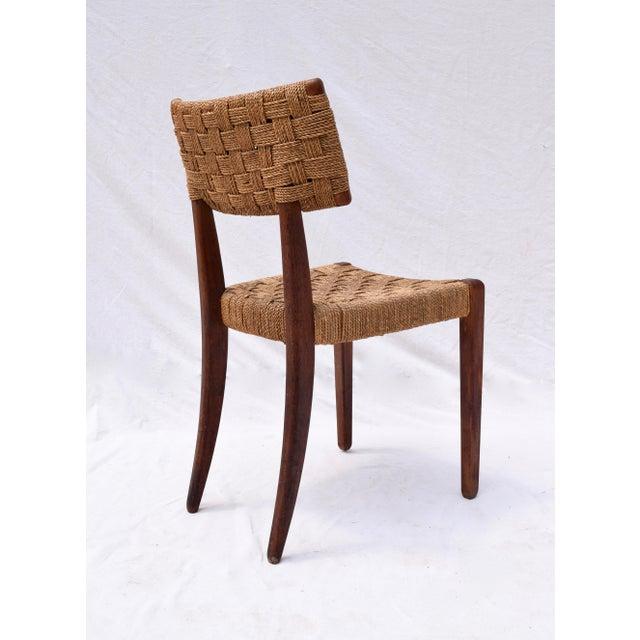 Wood Teak Mid Century Modern Side Desk Rope Chair For Sale - Image 7 of 12