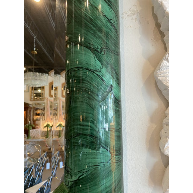 Vintage Large Green Faux Malachite Vertical or Horizontal Octagon Wall Mirror For Sale In West Palm - Image 6 of 13