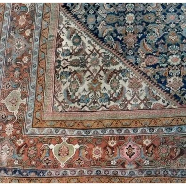 Blue Antique Persian Palatial Rug For Sale - Image 8 of 9