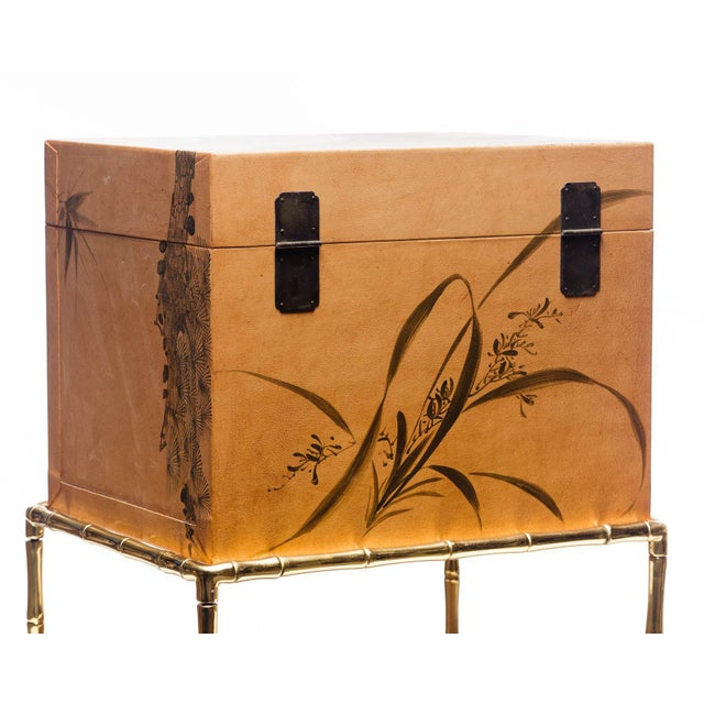 2010s Hand-Painted Natural Tan Leather Box on Handcrafted Brass Stand as Side Table For Sale - Image 5 of 11