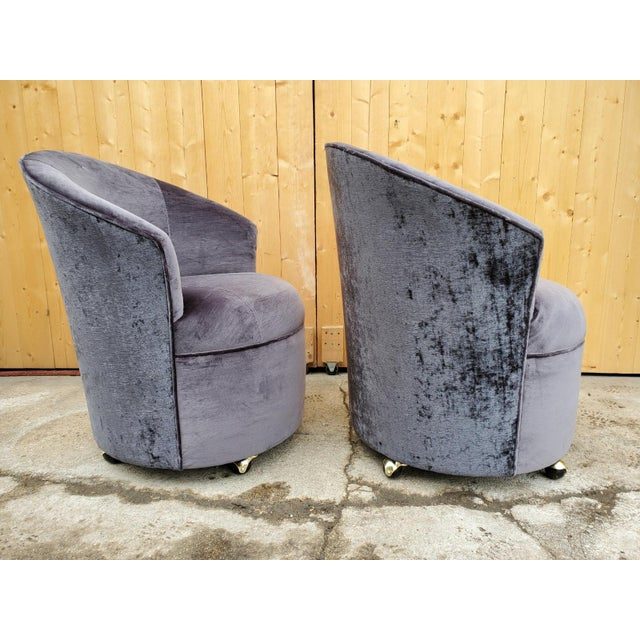 Vintage Mid Century Modern Sculptural Directional Barrel Chairs on Casters Newly Uphostered in High End Plush Black Silk...