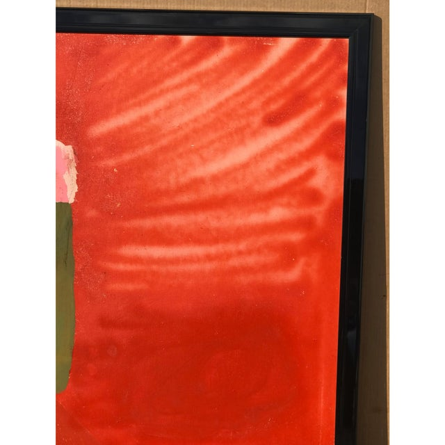Tomlinson Mid Century Modern Red Painting For Sale - Image 4 of 5