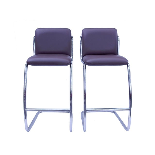 Brueton Modern Leather Barstools - A Pair - Image 2 of 5